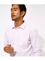 COTTON LINEN COOLMAX 3/4 SHIRT/柄PNK5