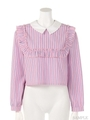 EVERY GIRL A CANDY FRILL BLOUSE/LIGHT BLUE STRIPE