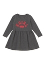 L/S GATHERED SKIRT DRESS COLLEGE STAR LOGO(12M〜3T) /CHARCOAL