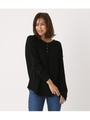 HENLEY NECK 2WAY WAFFLE TOPS/BLK